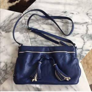 Cole Haan Reiley Tassel Blue Leather Cross Body